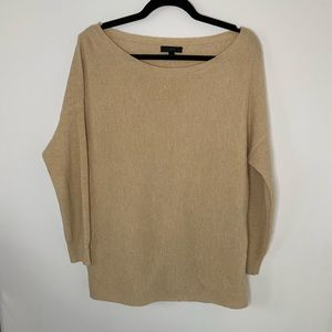 J Crew wool blend boat neck knit cream sweater